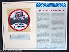 1973 NEW YORK YANKEES Willabee & Ward LOST TREASURES OF BASEBALL TEAM LOGO PATCH