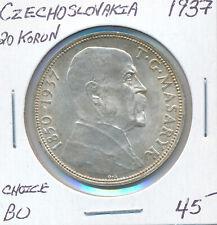 CZECHOSLOVAKIA 20 KORUN 1937 - CHOICE BU