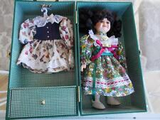 "12"" porcelain Lasting Impressions Companion collect Black Hair Doll case 2 dress"
