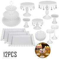12 PCS White Cake Stands Set Metal Cupcake Dessert Stand Christmas Party Wedding