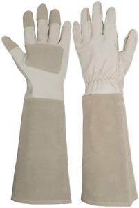 Long Sleeve Leather Gardening Gloves,Rose Pruning Floral Gauntlet Garden Gloves