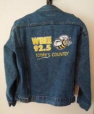 WBEE 92.5 Country Radio M&G Fashions Embroidered Denim Jacket L Made In USA