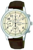 Seiko Men's Classic Stainless Steel & Brown Leather Chronograph Watch SNDC31