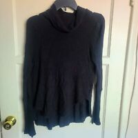 Free People We The Free Women's Black Cowl Long Sleeve Waffle Shirt Top XS