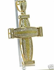 Men's Gold Over Solid 925 Sterling LARGE Clear & Canary CZ Cross Pendant '
