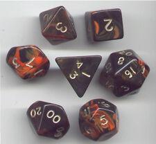 RPG Dice Set of 7 - Oblivion Orange D4 D6 D8 D10 D12 D20 D00-90