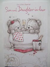 CHAMPAGNE SHARING A BATH SON & DAUGHTER-IN-LAW ANNIVERSARY GREETING CARD