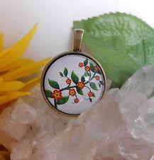 Ketten Anhänger Blüten Zweig  Glas Cabochon 25 mm - Amulett rund