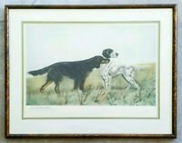 LEON DANCHIN English Setter Hunting Dogs Plate-Signed Antique 1950's Lithograph