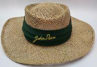 Vintage John Deere Straw Hat Union Made In United States HTF Cursive Logo EUC