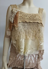 Upcycled Crochet Top Vintage Handmade Doilies White Natural Neutral Taupe
