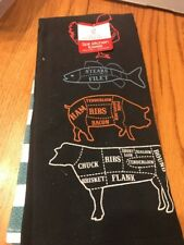 Grand Gourmet Kitchen Dish Towels Set of 2 Chef Prime Cuts Chicken Fish Pig Cow