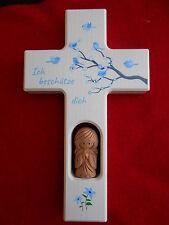 Kinderkreuz m.Schutzengel Geburt Taufe mit 3 Kristallsteinchen Taufgeschenk