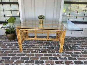 Bamboo Dining Table Rattan Console Entry Breakfast Nook Desk GLASS NOT INCLUDED