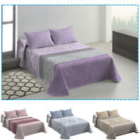 3 Piece Quilted Embossed Bedspread Throw & Pillowcase Double Size Bed Bedspreads