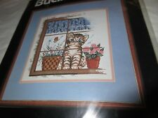 NEW Sealed VTG Bucilla Counted Cross Stitch Kit # 40462 Cat In Window Sampler