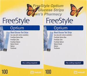 Genuine 2 x Abbott Freestyle Optium Neo Blood Glucose Strips = 200 Tests NEW