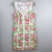 LILLY PULITZER Macfarlane Shift Dress Hotty Pink Forget My Trunks Sz 4 P19