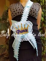 Baby Shower Mom To Be It's a Boy Sash with Prince Crown & Blue Ribbon Corsage