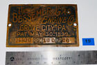 20 HP BESSEMER Brass Tag Name Plate Oilfield Gas Engine Hit Miss