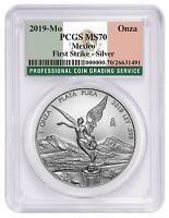 2019 Mexico 1oz Silver Onza Libertad PCGS MS70 - First Strike - Flag Label