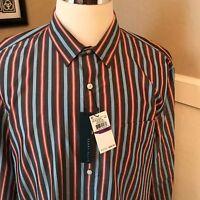 NWT PERRY ELLIS Eclipse Gray Stripes Cotton /& Linen Button Up Front Shirt $70