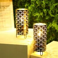 Set of 2 Metal Table Holders With Fan Patterned Decor Cylinder Plant Curio Case