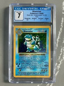 1999 Pokemon TCG Base Set SHADOWLESS #2 Blastoise Holographic Rare Graded CGC 7