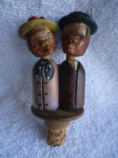 Signed-Vintage German Kissing Couple Mechanical Wine Stopper Carved Wood