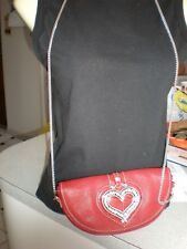 NEW  RED  Brighton SILVER HEART  Leather Wallet On Chain Crossbody Bag PURSE