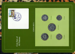 Coin Sets of All Nations Costa Rica w/card 1984-1992 UNC 10 Colon 1992 4MAY1989