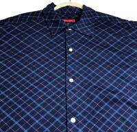 NEW Austin Reed London Men's Short Sleeve Button Up Shirt XL Blue Pink Diamond