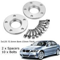 2pcs 5x120 PCD Wheel Spacers Hubcentric Bolt & 15mm Bolt Kit For BMW E46 E90