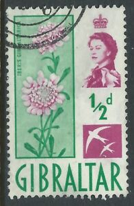 Gibraltar #147(1) 1960 0.5p bright green & lilac CANDYTUFT Used