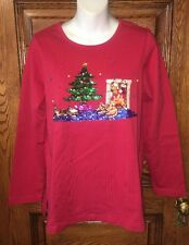 QUACKER FACTORY Cat & Mouse at Fireplace HEAVY SEQUINS BEADED CHRISTMAS TOP, S