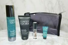 CLINIQUE FOR MEN 4 PIECES SKIN CARE GIFT SET BLACK CLEAR TOILETRY BAG TRAVEL NIB