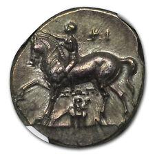 Calabria Taras AR Didrachm Boy on Dolphin (302-280 BC) CH AU NGC
