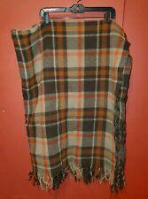Vintage PENDLETON 100% Pure Virgin Wool Plaid Throw Stadium Blanket Autumn Color