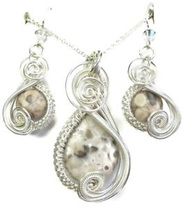 Sterling Silver Crinoid Fossil & Swarovski Crystal Wire-Wrapped Earring/Necklace