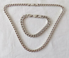 Beautiful Silver Chunky Chain Necklace & Bracelet 80g