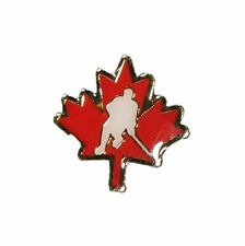 RED MAPLE LEAF WITH PLAYER METAL PIN BADGE ..NEW