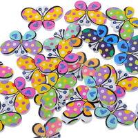 50 Mix Holzknöpfe Schmetterling Patchwork Motivknöpfe 2 Löcher 3x2cm