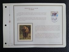 FRANCE CEF 1974 BISON WISENT ERSTTAGSBLATT SAMMELBLATT DOCUMENT z940