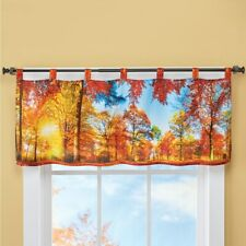 Autumn Harvest Fall View Window Valance Leaves Forest Sunset Red Leaves Valance