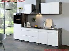 Küchenblock ohne Geräte Einbauküche ohne Elektrogeräte 270 cm hochglanz weiss