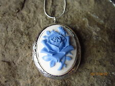 BABY BLUE ROSE ON WHITE CAMEO SILVER PLATED LOCKET - UNIQUE - WEDDING - SKY BLUE