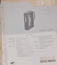 Grabadora De Cassette Sony TCM-131 Manual de taller de reparación de servicio (copia Original)