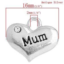 5 ANTIQUE SILVER INSCRIBED MUM RHINESTONE HEART CHARM~WEDDING PARTY (43) UK