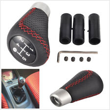 Black Leather Red line Stitch Manual 5-Speed Gear Stick Shift Knob Shifter Kits