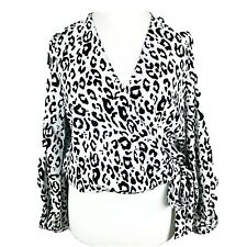 ASOS *BNWT* White & Black Leopard Print Wrap Puff Sleeves Blouse Size 12 (H1)